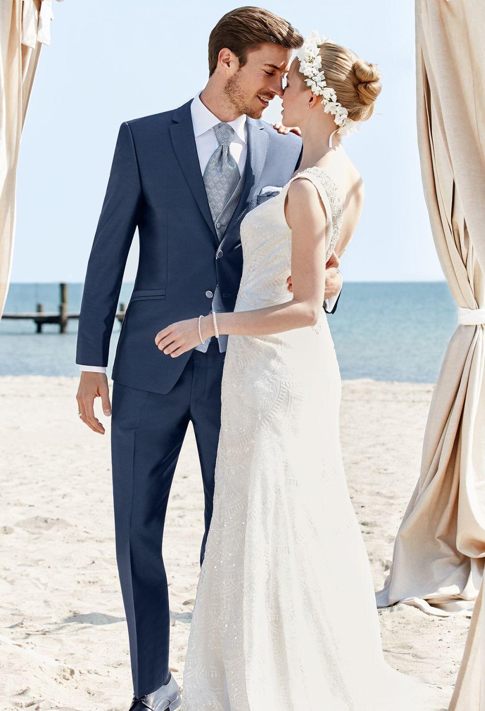 ślubny garnitur niebieski