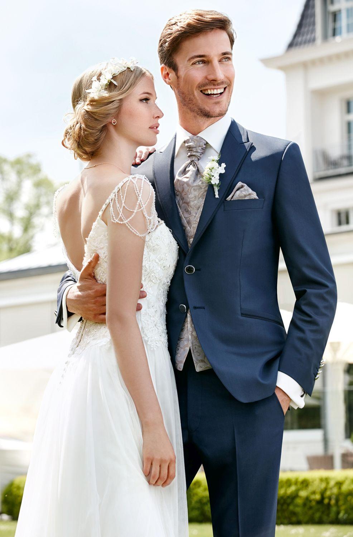 garnitur ślubny niebieski